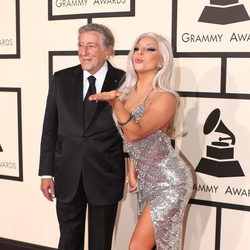 Grammy Awards 2015: Red carpet Recording artists Tony Bennett (L) and Lady Gaga. Photo / Getty Images