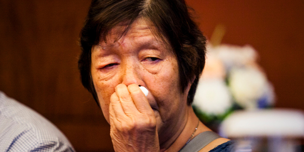 Helen Chan, mother of condemned drug trafficker Andrew Chan, cries during a press conference in Jakarta, Indonesia, on Monday. Photo / Getty