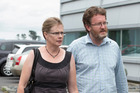 Lucy Knight and her husband Peter Thomas leave the North Shore District Court, after the sentencing of Hendrix Hauwai. Photo / Brett Phibbs