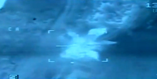 Feb. 16, 2015 file video image from aerial footage released by the Egyptian Defense Ministry, shows an airstrike on Islamic State group positions, in Libya. Photo / AP