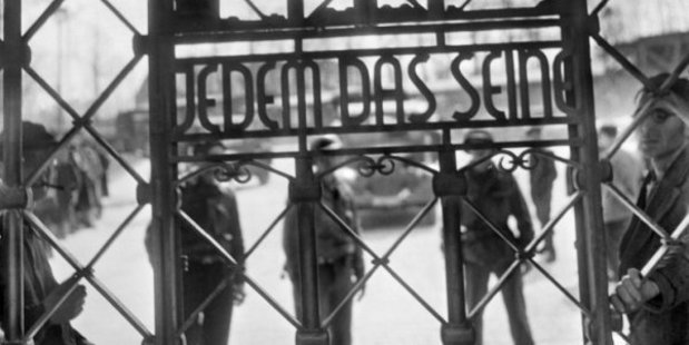 The gate of Buchenwald camp, with the words 'To each what he deserves'. AFP Photo / Eric Schwab