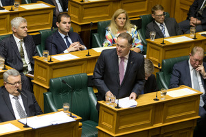 Prime Minister John Key announcing the Government's decision over Isis in Parliament. Photo / Mark Mitchell