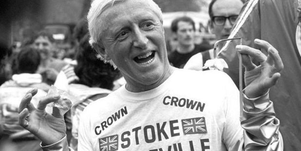 Savile wearing a Stoke Mandeville Hospital t-shirt after running a marathon in aid of the hospital in 1981. Photo / Screen grab
