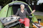 Jo Prowse camps in her little dome tent whenever she is able. Photo . Paul Taylor