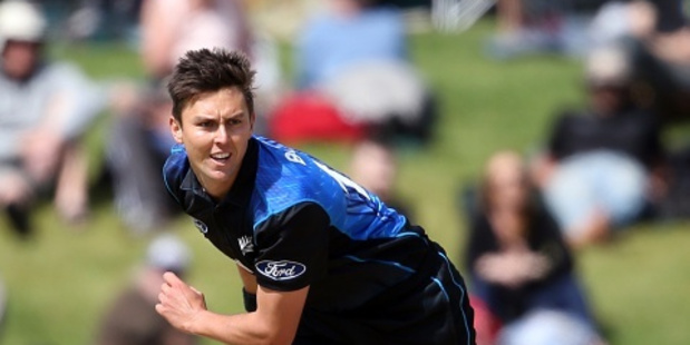 Trent Boult in action for the Black Caps against South Africa at Bay Oval last year. Photo/File