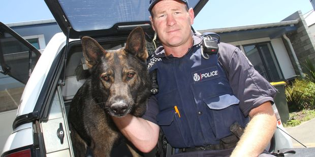 Masterton Police Constable Mike Wakefield and his police dog Thames. PHOTO/ANDREW BONALLACK