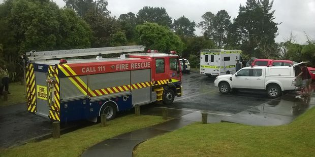 Emergency services are at Kaiate Falls, where a man drowned after midday. Photo/Ruth Keber