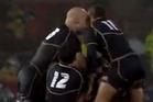 Scotland teammates Ally Strokosch and Joe Ansbro headbutt each other while celebrating a win over Australia. Photo / YouTube