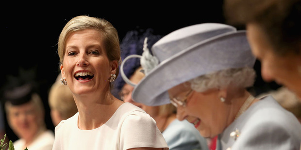 The Countess of Wessex laughs heartily with the Queen at the Centenary Annual Meeting of The National Federation Of Women's Institute at Royal Albert Hall. Photo / Getty Images