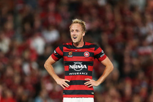 Mitch Nichols of the Wanderers reacts in frustration during the round 13 A-League match between the Western Sydney Wanderers and Adelaide United. Photo / Getty