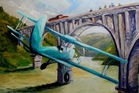 Legendary topdressing pilot Vic Christie is depicted flying under the Ballance Bridge at Woodville, in one of Mr Harold's Topdressing Daze paintings. A later attempt by another pilot coped the ire of an aviation inspector who was sitting in a railcar alongside the bridge as the pilot flew low. The inspector was seen quickly writing notes as the plane flew by.