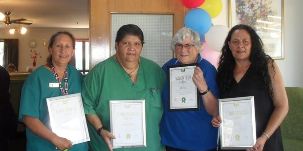 APPRECIATED: A special tea was held to celebrate the long service of Joy Ngatuere, Eileen Edwards, JanO'Neill, and Suzi Aki.PHOTO/ SUPPLIED