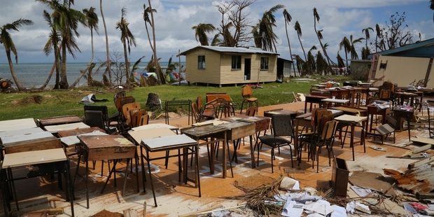 Cyclone Winston destroyed the Yasawas High School in Muaira on Naviti Island. While the winds ripped the roof and walls away, desks and seats remained standing. Photo / Richard Moore