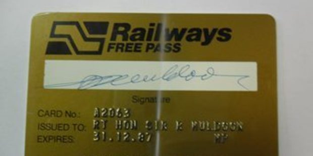 The gold railway pass is signed by Sir Robert Muldoon. Photo / Trade Me