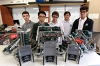 (From left) Otumoetai College students John Austin, Daniel Lee, Finn Schullenbach, Ethan Hanlon, Cory Dyer, and Braedyn Denney (not pictured) won the VEX Robotics National Championship title last weekend. Photo / George Novak
