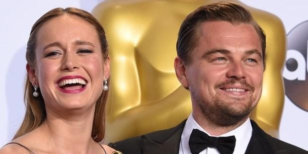 Best Actress Brie Larson and Best Actor Leonardo DiCaprio. Photo / AFP