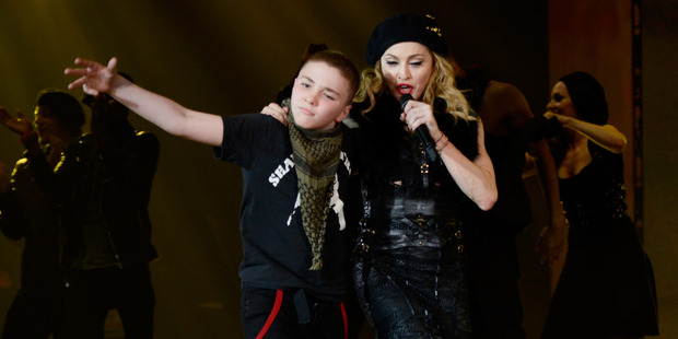 Madonna with her son Rocco onstage during her MDNA tour in 2012. Photo / Getty Images
