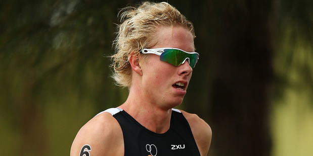 Sam Ward in the Team Relay Triathlon during the Australian Youth Olympic Festival. Photo / Getty Images