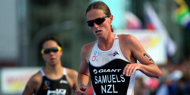 Nicky Samuels during the Barfoot & Thompson ITU World Triathlon Women's Race 2013. Photo / Getty Images