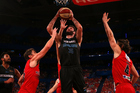 Breakers centre Alex Pledger goes to the basket against the Perth Wildcats. Photo/Getty.