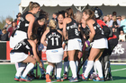 The Black Sticks react during the international women's hockey test against Argentina. Photo / Getty Images