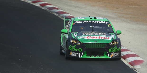 Mark Winterbottom drives the #1 BottleO Ford during a V8 Supercars test day. Photo / Getty Images