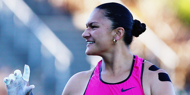 Valerie Adams competes in the Women's Shot Put during the Auckland Track Challenge. Photo / Getty Images