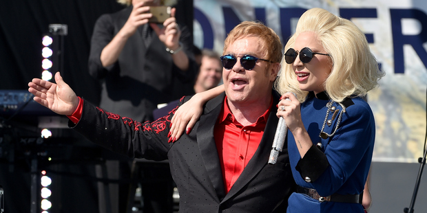 Elton John and Lady Gaga performed live on the Sunset Strip during a surprise one hour show. Photo / Getty