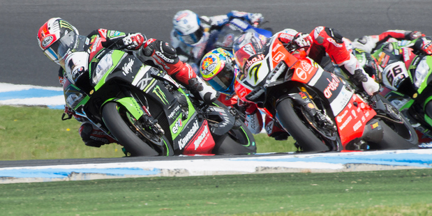Jonathan Rea leads the field during the 2016 World Superbike Championship opening round. Photo / Getty Images