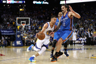 Stephen Curry playing for the Golden State Warriors against the Oklahoma City Thunder. Photo / Getty Images