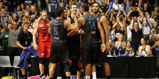 A sold-out North Shore Events Centre enjoyed the Breakers' nail-biting win over rivals Perth. Photo / Getty