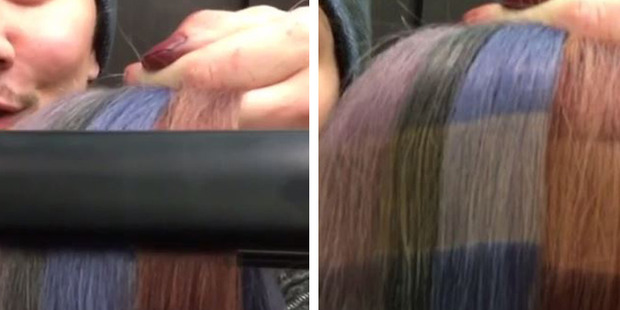 After just a few seconds using a straightener the change in colour is dramatic. Photos / Instagram, Guy Tang
