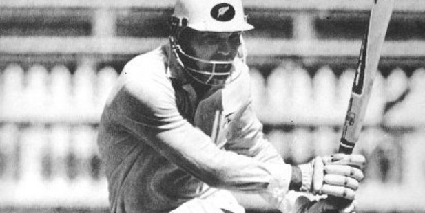 Loading Martin Crowe down on one knee during his innings of 299 at the Basin Reserve. Photo / Martin Hunter, Herald Archives