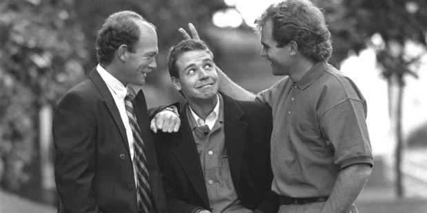 Actor Russell Crowe, centre, with cousins Jeff and Martin in 1991.