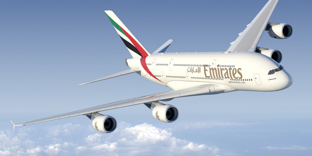 An Emirates Airbus A380 like the aircraft to be used on the inaugural flight.