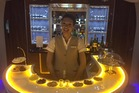 Business reporter Christopher Adams has enjoyed the business class bar on board Emirates first non-stop flight to Dubai from Auckland. Photo / Christopher Adams.