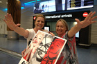 Madonna super fan, Lynn Douglas (right) welcomes friend Tracy Maritz who has flown from South Africa to be with Lynn. The pair are off to the Madonna concert in Auckland on Saturday. Photo / Nick Reed