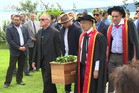 Whanau and iwi members and university colleagues acted as pallbearers yesterday. Photo / Maori Television
