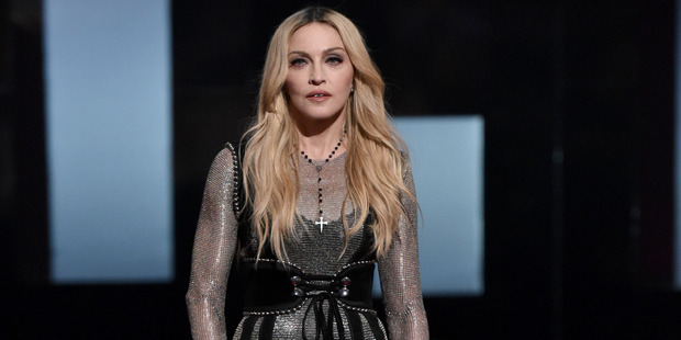 Madonna speaks on stage at the iHeartRadio Music Awards at The Shrine Auditorium. Photo / AP