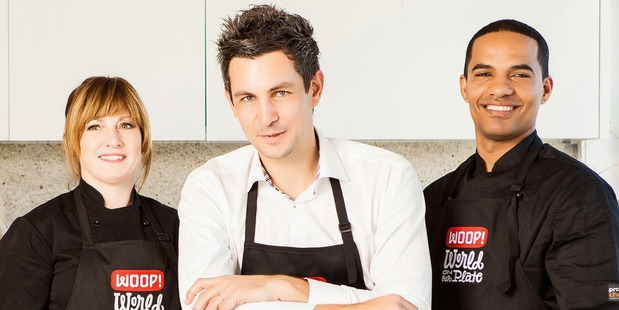 Woop chefs Kristin Staines and Kamil Splinter with CEO Thomas Dietz, centre.