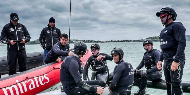 Team New Zealand out on the water in the Waitemata Harbour in the first day of training in their new test boat.