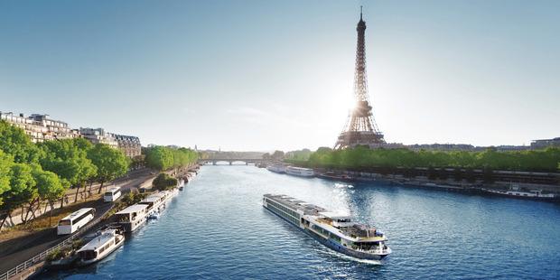 River cruising in Paris.