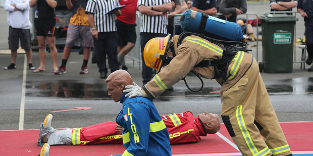 Loading LOCAL WINNER: Whanganui's Tanja Grunwald won the over-40 female category at the North Island Firefighter Combat Challenge at Peat Park on Saturday.