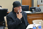 Terry Bollea, known as professional wrestler Hulk Hogan, watches potential jurors at the Pinellas County Courthouse, in St. Petersburg. Photo / AP