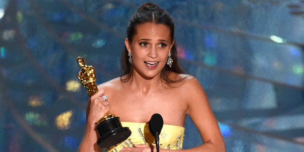 Alicia Vikander accepts the award for best actress in a supporting role for The Danish Girl at the Oscars. Photo / AP