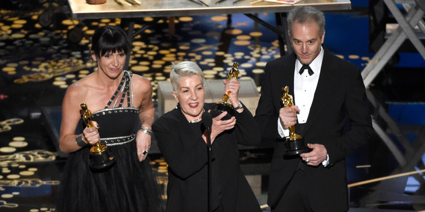 Elka Wardega, Lesley Vanderwalt, and Damian Martin accept the award for best makeup and hairstyling for Mad Max: Fury Road at the Oscars. Photo / AP