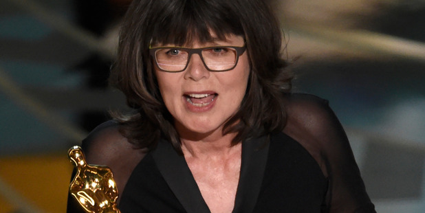 Margaret Sixel accepts the award for best film editing for Mad Max: Fury Road at the Oscars. Photo / AP