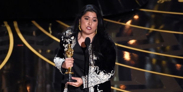 Sharmeen Obaid-Chinoy accepts the award for best documentary short for A Girl in the River: The Price of Forgiveness at the Oscars. Photo / AP