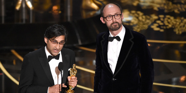 Asif Kapadia and James Gay-Rees accept the award for best documentary feature for Amy at the Oscars. Photo / AP