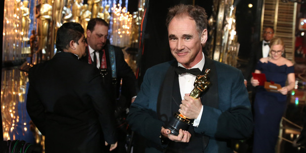 Mark Rylance appears backstage with his award for best actor in a supporting role for his work in Bridge of Spies at the Oscars. Photo / AP